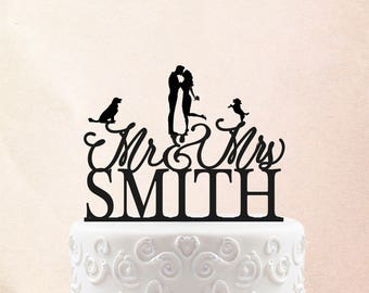 Rustic Cake Toppers for wedding, Custom Cake Toppers for Wedding with dogs Personalized Wedding Cake Topper, Gold Mr and Mrs Cake Topper 24