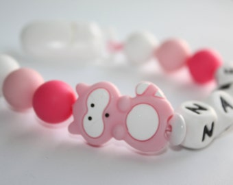 Pink RACCOON Personalised silicone / wooden Pacifier clip / Baby Shower  Gift