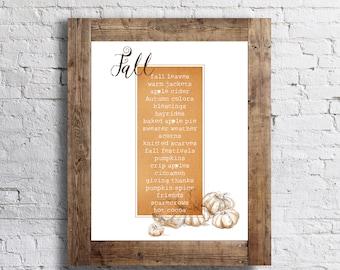 Fall Words Poster- Autumn - 11x14 - Fall Home Decor Poster - Thanksgiving Fall Decor