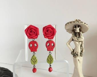 Sugar skull earrings/  Flower dangle earrings/ Halloween earrings