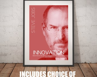 Steve Jobs Inspirational Wall Art - Innovation; Digital Download; motivational poster for a fulfilled and successful life