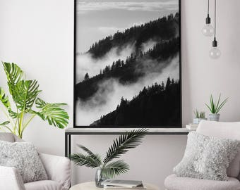 Forest Fog art print, Forest wall art, Foggy Forest art print, Black and white forest print, Forest printable, Forest Photography Poster