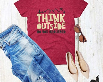 Think Outside No Box Required graphic unbasic tshirt, outdoor lover tee