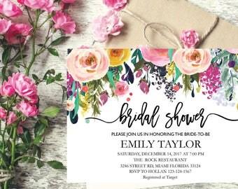 Bridal Shower Invitation, Printable Bridal Shower, Boho Bridal Shower, Instant Digital Download File, Flower Bridal Shower, Floral Bridal 4