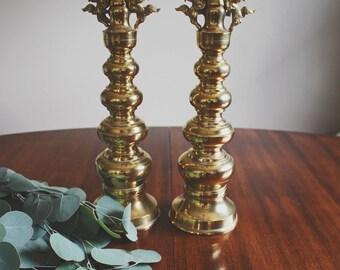 Oriental Brass Candlesticks Boho Decor Eclectic Chinoiserie Pillar Candle Holder Candle Stick Holder Mid Century Modern Brass Figurine
