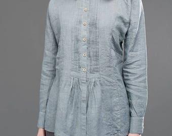Gray 100% linen women's blouse - European - Softened