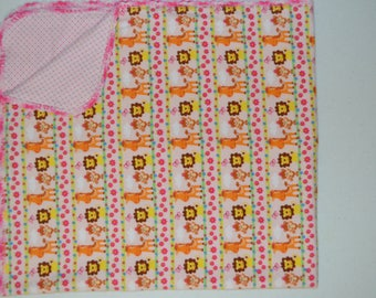 Pink Safari Animals Baby Blanket and Burp Rag