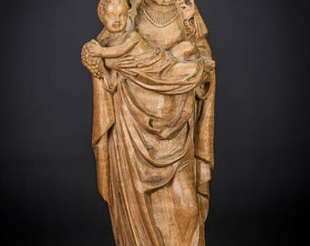 Beautiful Italian Wooden Madonna w Child Christ Sculpture Carved Mary Jesus Statue