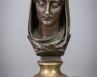 Antique Mater Dei Bronze Bust Statue Mother of God Virgin Mary Mable Base