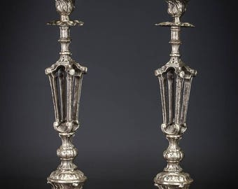 "Stunning 14"" Pair French Antique Silvered Spelter Candlesticks Baroque Holders"