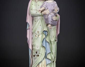 "12"" Beautiful Antique Madonna w Child Jesus Bisque Porcelain Statue Virgin Mary Baby Christ 7"