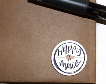 Happy Mail Stickers - Letter Seals - floral - circle sticker - flowers - 2.5 inch round