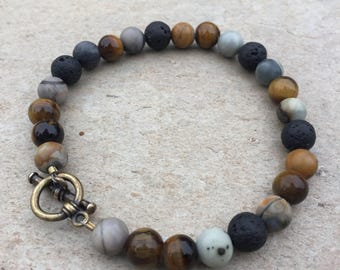 Picasso Jasper & Tiger Eye / Essential Oil Diffuser Jewelry / Lava diffuser / Bracelet / 8mm / Aromatherapy