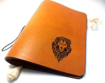 Camel leather Bullet Journal Notebook Leather Journal Personal Planner Lion Travelbook Book Refillable Leather 6 Ring Binder A5 Organizer