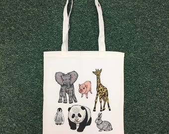 Animal Illustration Tote Bag Elephant Panda Octopus Giraffe