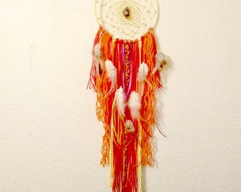 Reiki Healing Dream Catcher Hand Craft Silver Red Tiger Eye Crystal Boho Root Chakra Native Artist Gift Idea Solstice Gift, Holistic