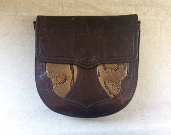 70's Yves Saint Laurent Authentic Brown leather and Snake Handbag, YSL, boho chic at its best! Fab for collector!  YSL baby!