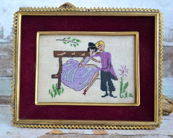 Cross Stitch Couple Scene.Vintage decor.Handmade embroidery.Embroidery Wall decor from 50's.Embroidery with  brass frame.Romantic couple.
