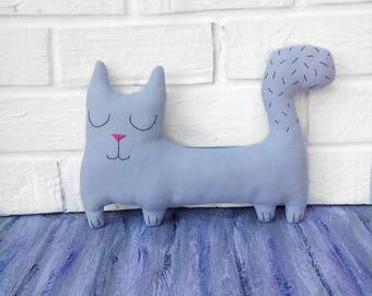 cat lover gift cat toy cat decor handmade doll rag doll interior doll cat doll blue blue cat textile cat textile doll decor doll toy fabric