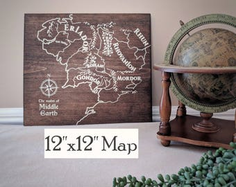 Middle Earth Map, Wood Middle Earth Map, Wooden Lord of the Rings Map, LOTR Map, The Hobbit Map, Map of Middle Earth by Novel Maps