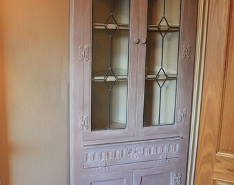 Hand painted Old Charm leaded glazed corner cabinet.