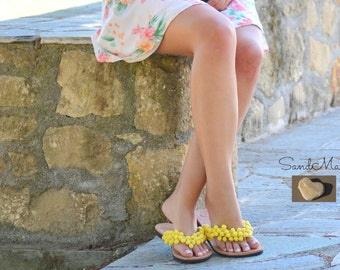 Greek leather sandals, Greek handmade boho leather sandals,Decorated boho sandals,Hippie leather sandals, Pom pom sandals, IVY