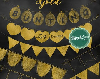 Gold Bunting Clipart - Gold Banners Clipart - Gold Foil Party Clipart - PNG Format - Instant Download