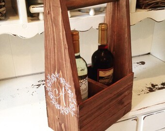 Rustic Wine Carrier, Wine Caddy, Wine Carrier, Wine Tote, Wine Glass Holder