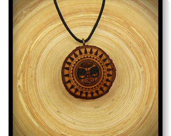 "Soul slices ""Maori, Polynesian, Tiki 7"" Wood necklace, vintage * Ethno * hippie * MUST have * statement *"