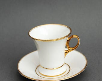 Empire Cup  with Saucer - Rörstrand - 1890's - Exclusive White China / Porcelain - Sweden - Scandinavian China