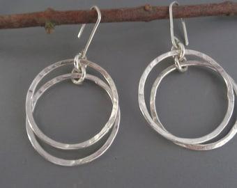 Hoop Sterling Silver Earrings. Silver Large Hoop Earrings. Big Hoop Earrings. Fair Trade Drop Earrings. Circle Handmade Hoop Earrings.