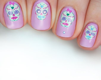 Sugar skulls fake nails dia de los muertos press on nails sugar skull nail transfers illustrated nail art decals pastel pink kawaii day of prinsesfo Gallery