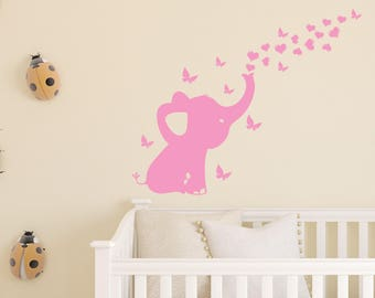 Elephant With Hearts and Butterflies Nursery Wall Decal Room Decor, Nursery Wall Decal, Girls Room, Girl Baby Nursery Decor (41 x 33 In)
