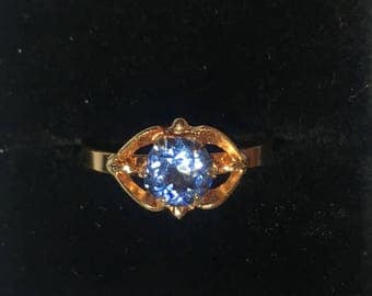 Solid 18 karat Rose Gold, Blue Zircon guardian angel ring, size 7