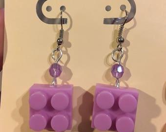 Building Blocks- Lavender 2X2 Dangle Earrings