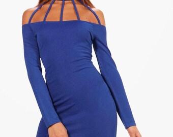 Kady Caged Neckline Bodycon Mini Dress