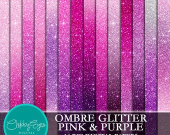 Ombre Glitter Pink & Purple Digital Papers, Scrapbook Papers Glitter Clipart  Instant Download