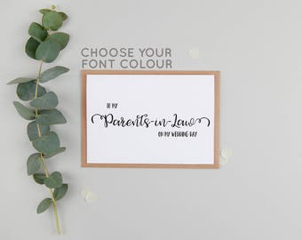Parents In Law Wedding Day Card - To My In Laws Wedding Day Card - To My Parents In Law On My Wedding Day Card - Parents-In-Law Wedding Card