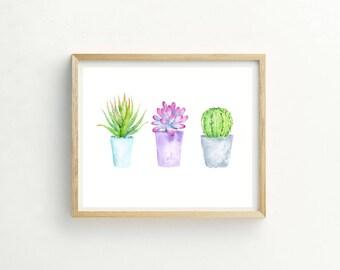 Little Succulents Print | Succulent Print | Succulent Watercolor | Succulent Picture | Succulent Wall Art | Succulent Painting | Cactus Art