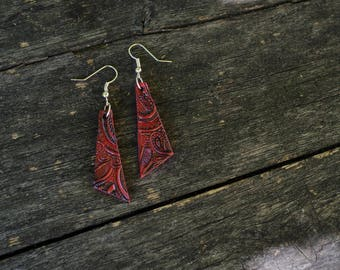 colourful dangling oriental earrings, triangle, handmade, summer, boho style