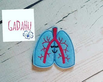 Cute lungs feltie. Embroidery Design 4x4 hoop Instant Download. Felties