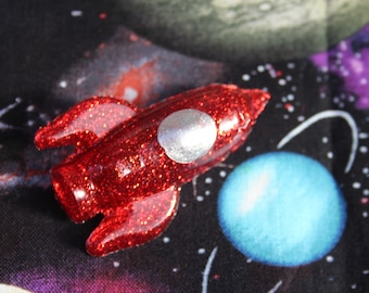Ruby Red Retro Rocket Pin