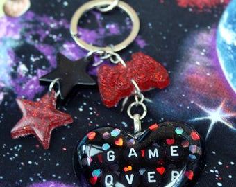 Game Over Gamer Glitter Holo Heart Resin Keychain