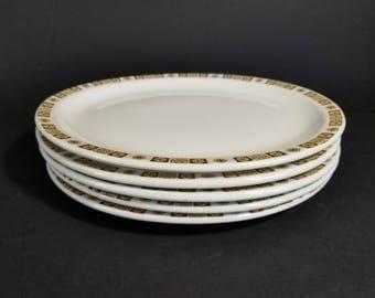 Vintage Buffalo Ridge Retro White Brown Oval Dinner Serving Plates Set of 5