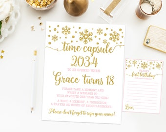 Time capsule first birthday sign, winter onederland first birthday party, girl pink and gold first birthday, printable print