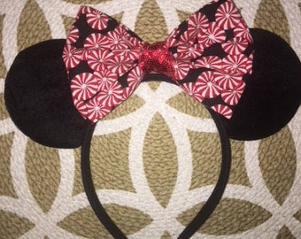 Candy cane, Christmas Minnie Ears, Minnie Mouse Ears, Minnie Ears, Mickey Ears, Disney Ears, Christmas Mickey Ears, Disney Christmas, disney