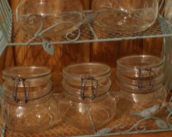 6 Vintage Italian Canning Jars / Hinged Self Sealing/ Ermetico