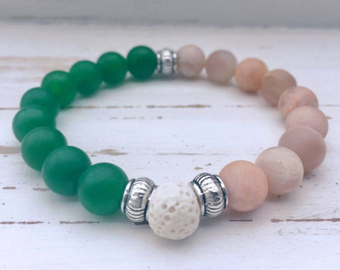 White Lava Rock, Green Jade, Moonstone and Antique Silver Beaded Diffuser Bracelet for Essential Oils