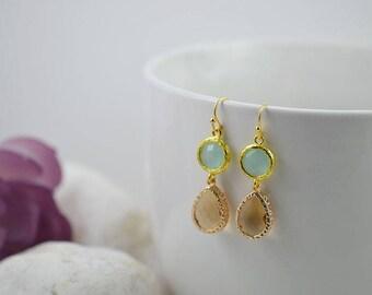 Gold Amethyst Mint Green Earrings Bridal Earrings Bridesmaids Earrings Mint Green Drop Earrings Long Dangle Earrings Amethyst Gold Jewellery