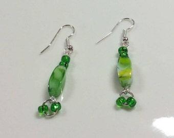 Handmade earrings with glass beads